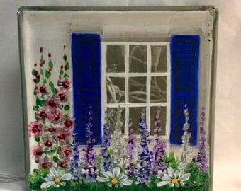 Glass Block Light-House Blue shutters-lamp-night light
