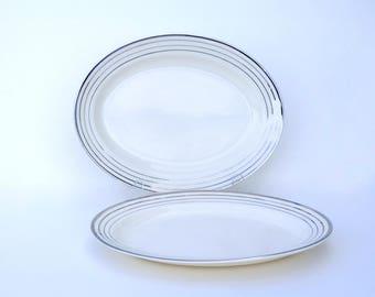Salem China Art Deco Platters, Zephyr Platinum White w/ Silver Serving Trays in Century & Saphire Shapes, Vintage Wedding China