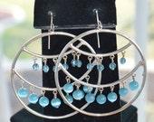 On sale Pretty Vintage Light Blue Beaded Large Hoop Pierced Earrings, Silver tone (V14)