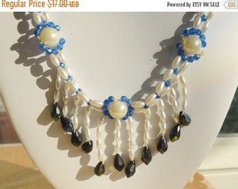 On sale Pretty Vintage Faux Pearl, Blue Faux Crystal Beaded Necklace, 24""