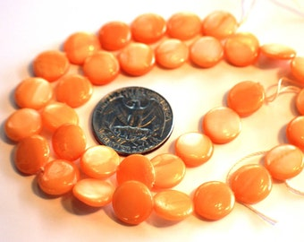 "Dyed Soft Peach Mother of Pearl Coin Beads 16"" Strand"