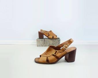 1970s Tan Sandal 70s Leather Shoes Boho Tan Sandal Vintage Tan Sandal 70s Size 8 Sandal Buckled Block Heel 70s Slingback Sandal Size 8