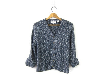 Blue Marled Sweater Cardigan Cable Knit Cardigan Button Up Sweater Preppy Sweater Crop Sweater Top Womens Petite Large