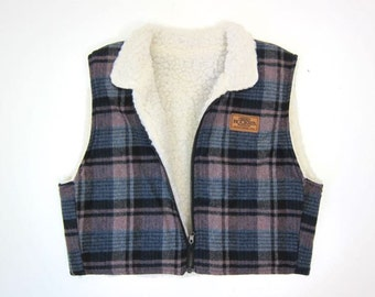 Plaid Cotton Vest Jacket Cropped Spring Coat Faux Sherpa Lined Shearling Outdoor Coat Zip Up Preppy Boho Vest Vintage Womens Small Medium