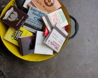 Retro 1970s 1980s matches Matchbook Collection Advertising Covers Paper Ephemera Hipster Bar Decor 20 Books of Matches