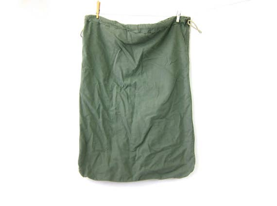 vintage army green rucksack canvas laundry bag duffle bag US military Grunge Hipster Drawstring Bag
