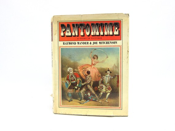 Pantomime Book a Story in Pictures 1973 Hardcover book Illustrations Prints Home Decor 1970s Book Raymond Mander & Joe MItchenson