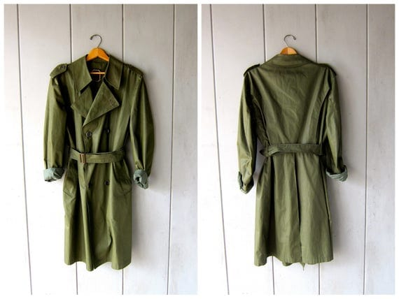 Vintage 80s CHRISTIAN DIOR Trench Coat Army Green Double Breasted Rain Jacket Vintage Raincoat Peacoat Long Belted Trench Jacket Mens 42 R
