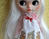 Neo Blythe /kenner style ~ Circus Dress. Surprised jester and dancing Girls dress  by Blythe Frock Shop