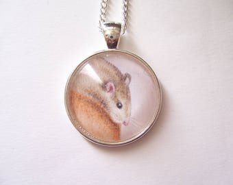 Pet Rat Gift, Rat Necklace, Silver Pendant Rat Jewelry, Original Drawing, Miniature Wearable Art, Rat Portrait Pendant Necklace