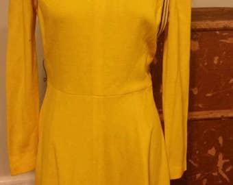 Yellow 60's 70s mod I.Magnin mini dress new wave punk cyber vintage