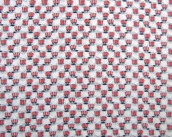 Patriotic Fabric - Honor & Glory Red White Blue Hats - Windham Cotton /Yd