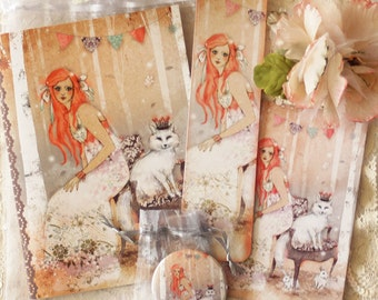 Christmas Gift Set - Notebook - greeting card - bookmark - owl - The Snow Sisters