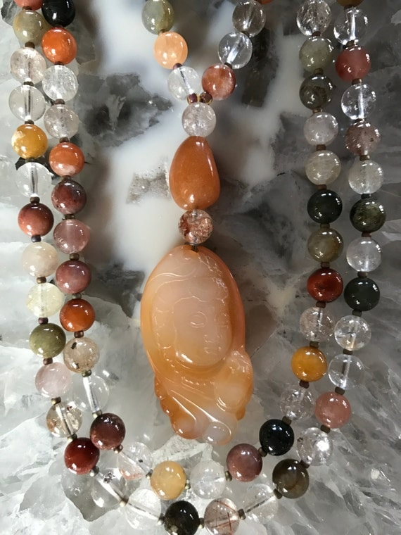 Rutilated Quartz and Agate Mala/Prayer Beads