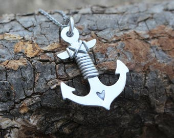 Anchor Necklace, Brass or Aluminum, Hand Stamped