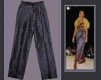 ROMEO GIGLI for Callaghan Italy,Elegant Purple Woven Silk Trousers,Richly Renaissance Royal Purple, 1980s Vintage Fashion,Women