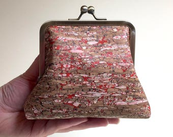 Speckled Red Clutch Purse - Small - Cork