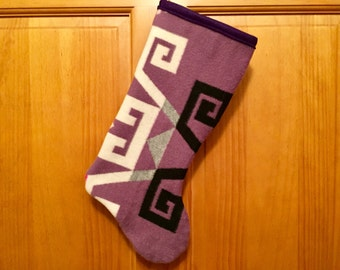 Christmas Stocking XL Lambswool Lavender Modern Geometric Southwestern Tribal Handcrafted Using Fabric from Pendleton Woolen Mill