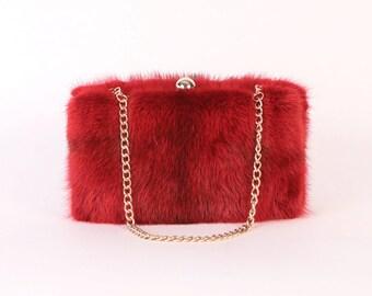 Red Mink Clutch ~ Genuine Mink Clutch ~ Red Mink Bag ~ Mink Purse ~ Real Fur Bag ~ Plush Mink Handbag ~ Mink Handbag ~ Red Fur Clutch  Bag