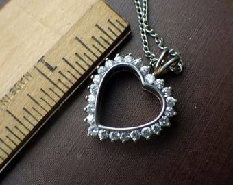 Rhinestone and Sterling Silver Open Necklace - Vintage