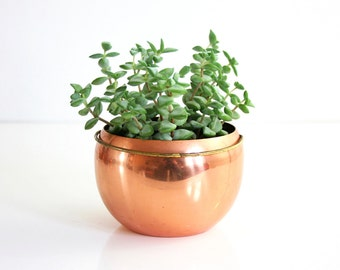 Vintage Copper Planter by Coppercraft Guild / Retro Copper and Brass Plant Pot / Mid Century Copper Planter with Handle