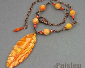 Phoenix feather necklace, orange yellow polymer clay pendant on beaded copper chain