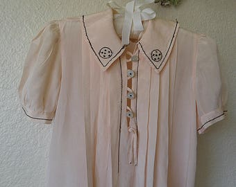 Vintage SILK Toddler Dress Pale Peach, Gorgeous