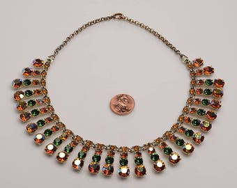 Multi Color Aurora Rhinestone Collar Necklace c.1940's:  Prong set construction - summer color story - chic glamour with just enough glitz