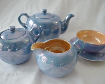 last chance Vintage LUSTREWARE Japan Tea Set blue made in JAPAN 1950's
