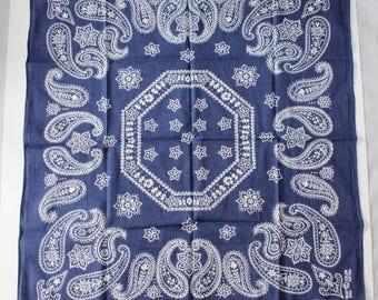 Vintage Blue  Bandana, 100% Cotton, Made in USA,  Elephant TRUNK UP