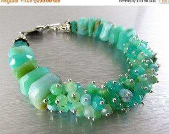 25 % OFF Peruvian Opal and Chrysoprase Sterling Silver Cluster Bracelet