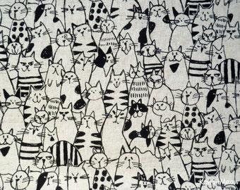 Japanese Fabric / Cotton Linen- Cats Ecru - Half Yard (ma170210)