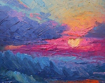 Giclee Print on Canvas, Expressionist Abstract Sunset Painting, Free Proof, Free Shipping, Choose Your Size, No Frame Required
