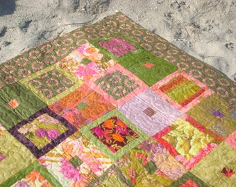 Green and Purple Floral Lap Quilt Throw Baby Quilt