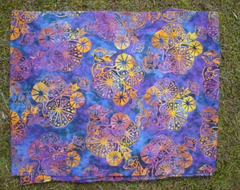 Purple and Gold Floral Cotton Batik Yardage