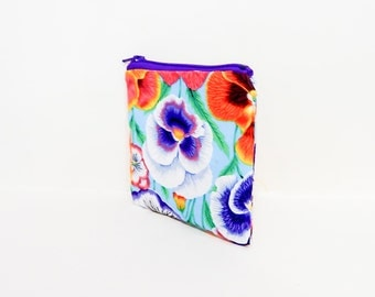 Pansy Pouch, Change Pouch, Zipper Pouch, Fabric Pouch, Fabric Zipper Pouch, Floral Pouch, Zipper Case, Kaffe Fasset Pouch, Floral Coin Purse