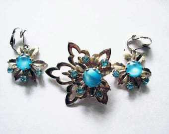 Vintage Blue Moonglow Flower Pin and Earrings
