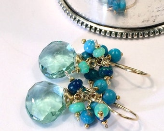 HALLOWEEN SALE Emerald Green Earrings, Blue Green Turquoise Opal Cluster Gold Fill Wire Wrapped Gemstones, Petite Cluster, Gift for Her, May