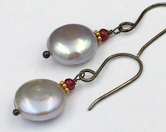 Silver Coin Pearl Earrings Wire Wrap Red Spinel Grey Pearl Earrings Wedding Jewelry Bridesmaid Earrings Mother of the Groom Holiday Jewelry