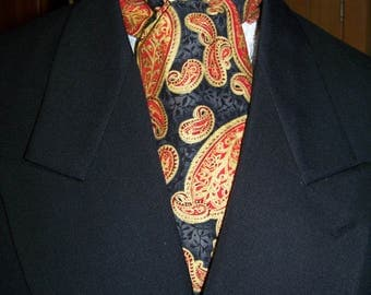 "Ascot or Carvat Red, Black with Gold Floral Paisley cotton print fabric 4"" x 43"" Mens Historial Wedding, cravat tie"
