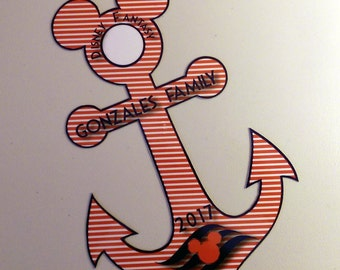 Disney Inspired Nautical Anchor Large Striped Family Magnet for Disney Cruise