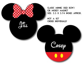 Handmade RED Bow Disney Inspired Classic Mickey and Minnie Mouse Magnet for Disney Cruise