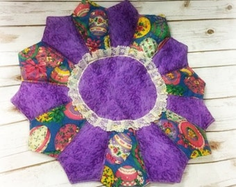 Quilted Table Topper/Doily/Quilted Topper/Quilt/Handmade/Ready To Ship/Easter/Purple/patchwork placemat/Home decor/Coaster/Kitchen/Patchwork