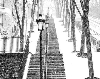 Best Seller, Paris Photography, Snowy morning in Montmartre, winter photography, Paris in the snow, black and white art, Winter in Paris