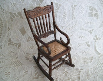 iniature, one inch scale, Rocker with cane seat, unknown maker.