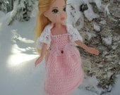 Pretty  in Pink Knitted Dress and Shrug for OOAK Doll