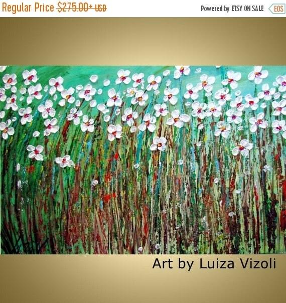 Large Canvas Flowers Impasto Oil Original Painting Daisy Summer Field Abstract Flowers by Luiza Vizoli