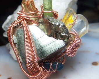 Peridot Yellow APatite Blue APatite Topaz Pyrite from Peru wire wrap pendant necklace in copper with black cord large multi stone crystal G7