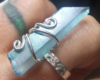 Aqua Aura Sterling Silver Ring size 8 - textured pattern 3 mm wide - blue crystal stone point wire wrap - wire wrap prong coyoterainbow