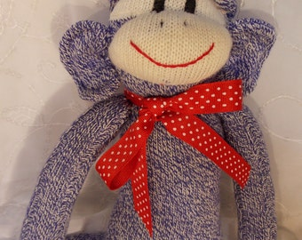 Blue Jean Sock Monkey Doll, Soft Cuddly Blue Cream Monkey, Personalized, OOAK, Doll Toy Plush Stuffed Animal Play Child, Traditional
